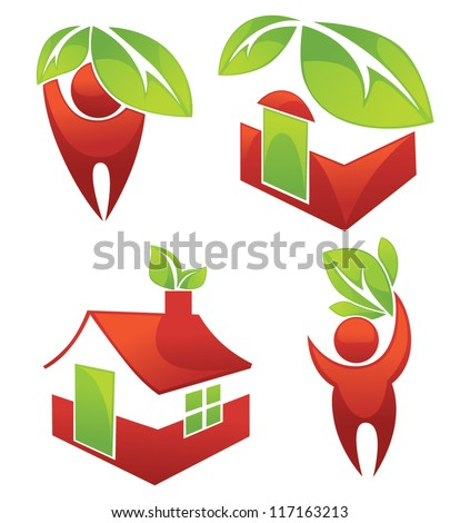 safe your home, vector ecological collection - stock vector