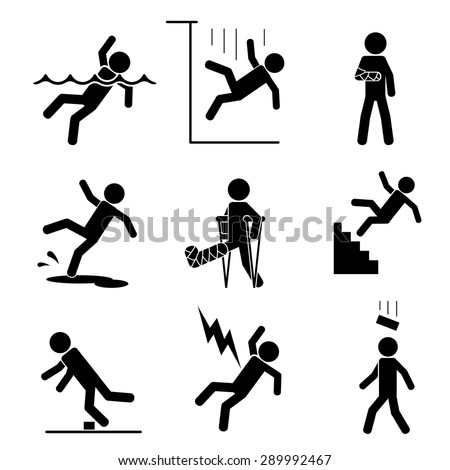 Safety and accident icons set. Trauma and brick on head, crutch and cling, slip and puddle, gypsum and fracture. Vector illustration - stock vector