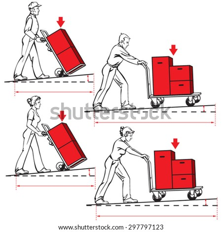 Safety at work-pushing hand trucks. Vector illustrations prepared for safety and ergonomic instructions for transport of  items on hand trucks with regard of weight, distance and inclination. - stock vector