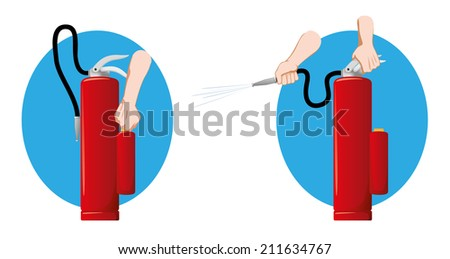 Safety equipment, fire extinguisher water  - stock vector