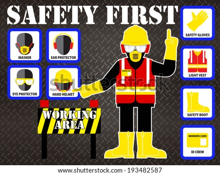 SAFETY FIRST ILLUSTRATION - stock vector