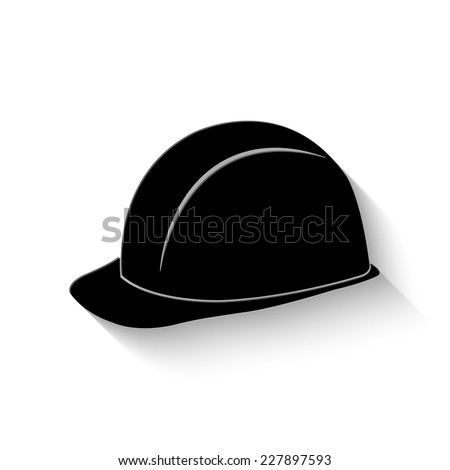 safety hard hat icon - vector illustration with shadow - stock vector