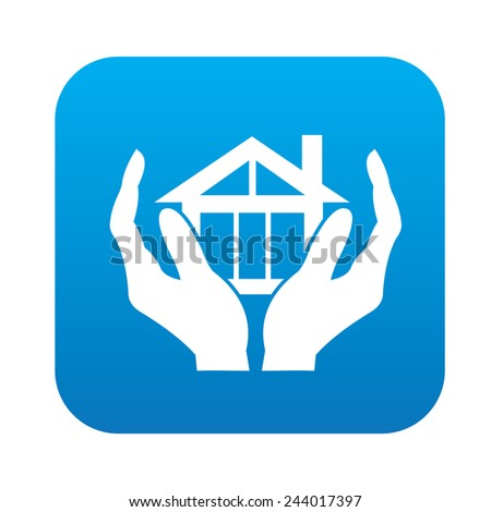 Safety Home icon on blue button, clean vector - stock vector