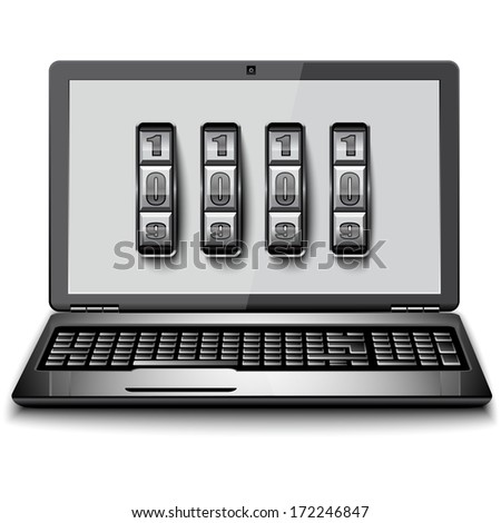 Safety laptop - stock vector