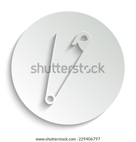 safety pin - vector icon with shadow on a round button - stock vector