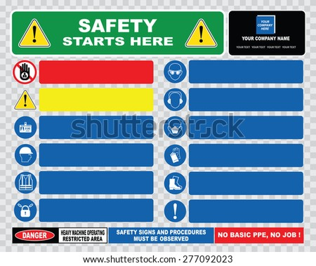 safety starts here template or site safety sign template (strictly no admittance to unauthorized personnel, safety ppe must be worn, helmet, ear, boot, jackets). - stock vector