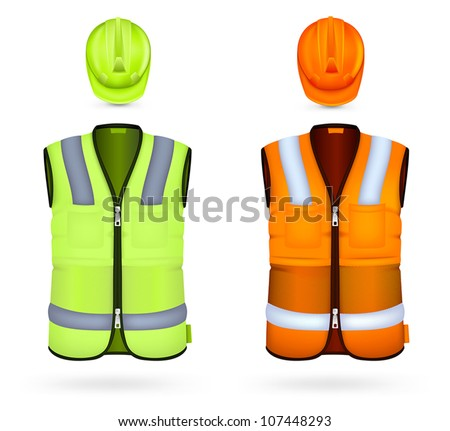 Safety vests and hardhats. - stock vector