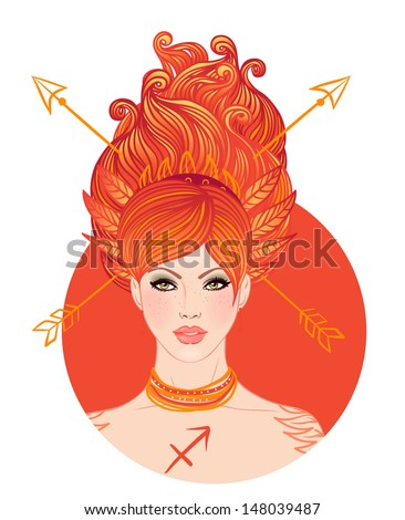 Sagittarius astrological sign as a beautiful girl. Vector illustration isolated on white.  - stock vector