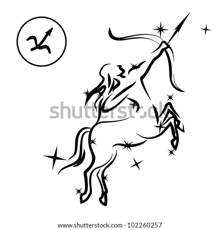 Sagittarius/Lovely zodiac sign silhouette formed by stars isolated on white, layered eps10 format available - stock vector