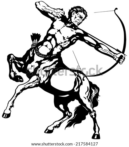 sagittarius the centaur archer, astrological zodiac sign, black and white isolated image - stock vector