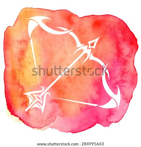 Sagittarius zodiac sign on watercolor background. Vector Illustration  - stock vector