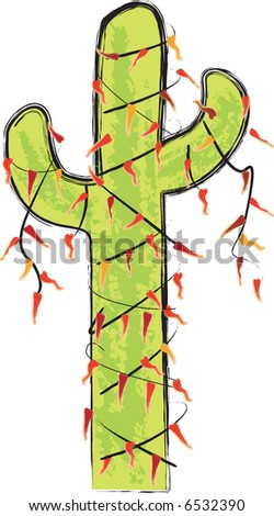 Saguro Saguaro Cactus as Christmas Tree decorated with Chili lights - stock vector