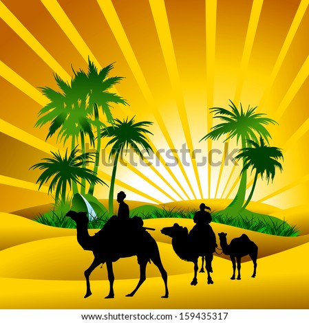 Sahara lifestyle with camel silhouettes, vector and illustration - stock vector