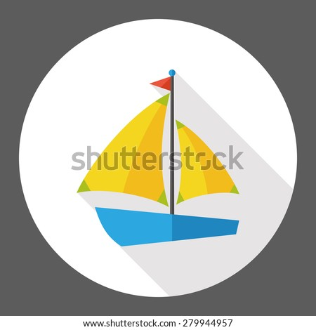 Sail Boat flat icon with long shadow - stock vector