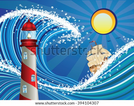 Sailboat and lighthouse in the blue stylized stormy sea. - stock vector