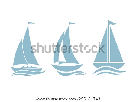 Sailboat icons on white background - stock vector