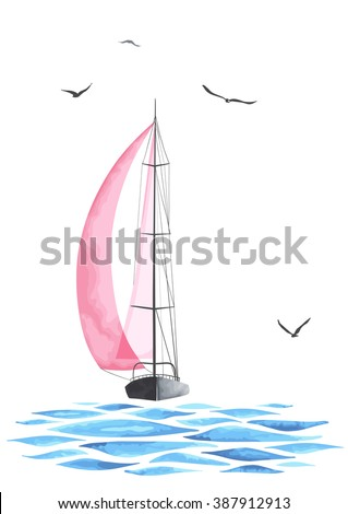 Sailboat in the sea and seagulls. Objects made in the vector and isolated on white background. Watercolor imitation. Sport yacht, sailboat. - stock vector