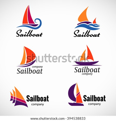 Sailboat logo vector set design element with business card template. - stock vector