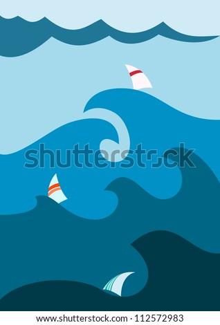 Sailboat on stormy seas - stock vector