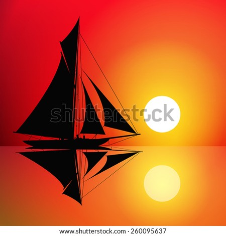 Sailboat on the ocean at sunset. Vector illustration - stock vector
