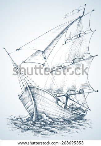 Sailboat wallpaper - stock vector