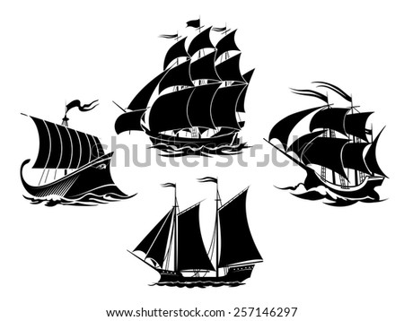 Sailboats and sailing ships black silhouettes. Schooner and frigate and galleon. Vector illustration - stock vector