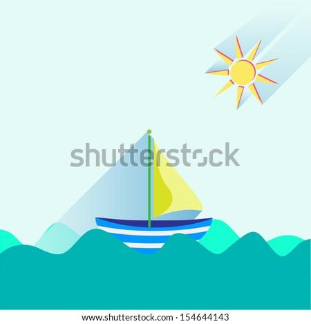 Sailing boat and sun, flat icon - stock vector