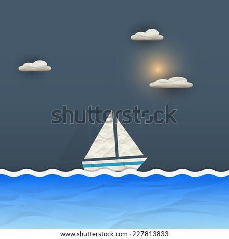 Sailing boat and sun with clouds. Vector paper-art - stock vector