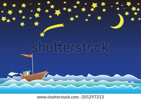 Sailing boat at night. Vector  - stock vector