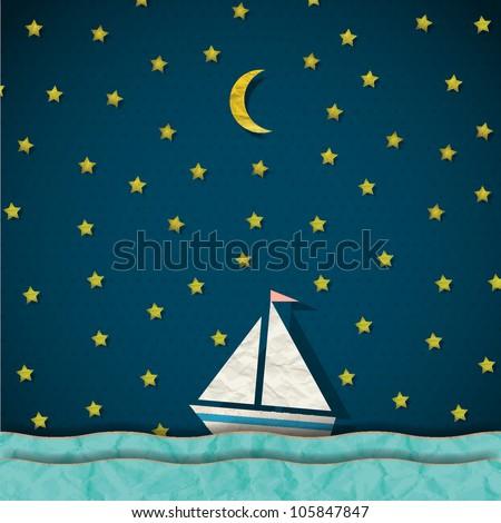 Sailing boat at night. Vector paper-art - stock vector