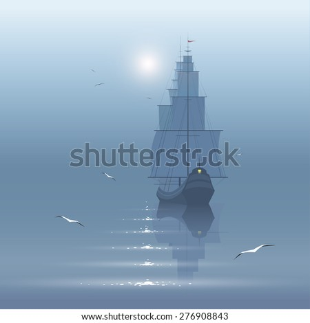 sailing boat in calm sea - stock vector