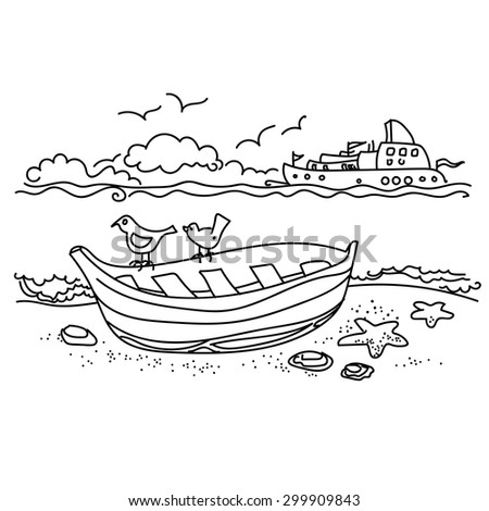 Sailing boat on coast free hand drawing, outline - stock vector