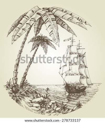 Sailing boat on sea and tropical island destination - stock vector