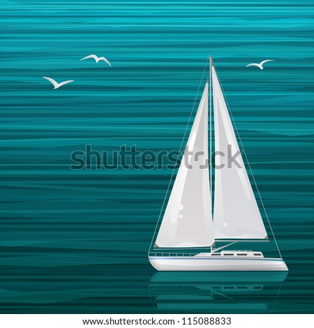 Sailing boat on the sea - stock vector