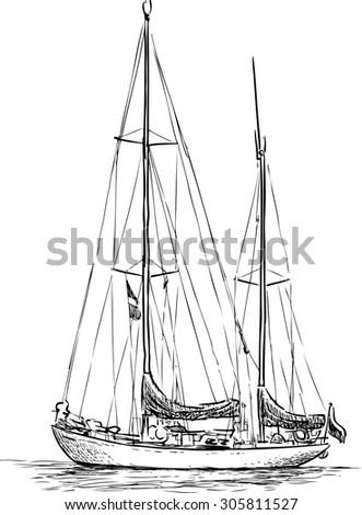 sailing boat sketch - stock vector