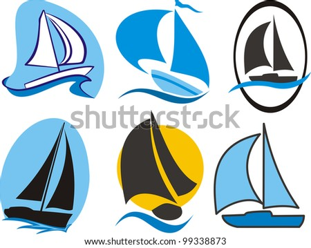 sailing icons - stock vector