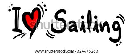 Sailing love - stock vector