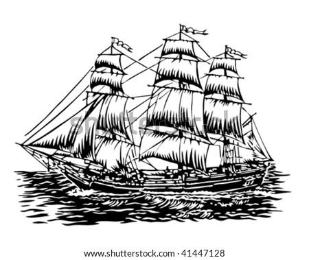 sailing ship - stock vector