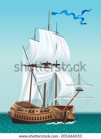 Sailing Ship in the Sea. Vector illustration. - stock vector