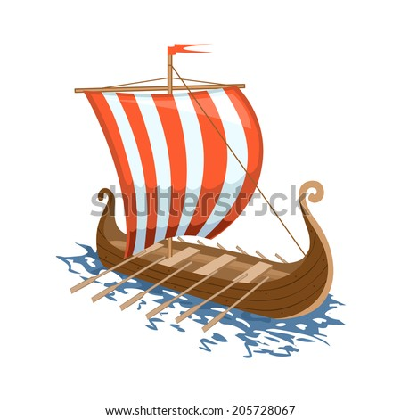 Sailing Ship. Vector illustration of drakkar - stock vector