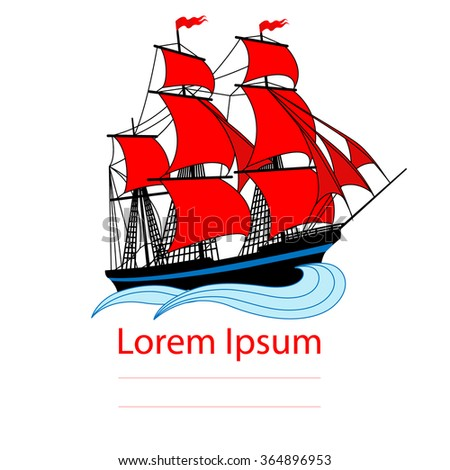 Sailing ship with red sails. Vector illustration - stock vector
