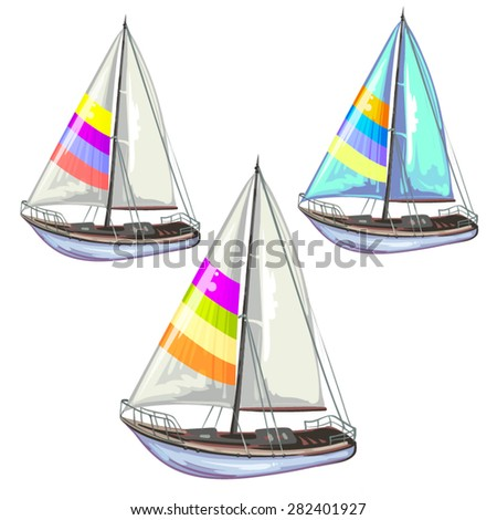Sailing ship yachts over white background - stock vector