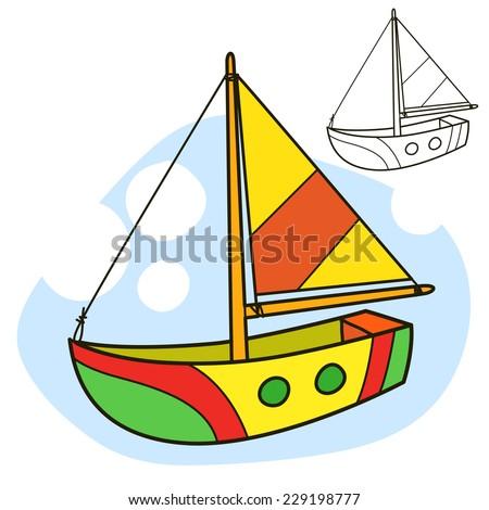 Sailing vessel coloring book page cartoon vector illustration