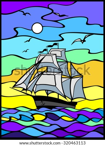Sailing vessel  wich white sails in the sea view. Sunrise.Morning. Orang, blue, and yellow background. Stained glass style. Stained glass window, vertical. Can be used for flayers, banners, posters.  - stock vector