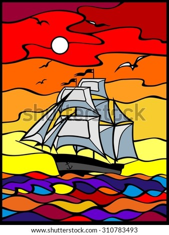 Sailing vessel wich white sails in the sea view. Sunset. Red, yellow, orange, blu background. Stained glass window.  Vector illustration.  It Can be used for flayers, banners, posters.  - stock vector