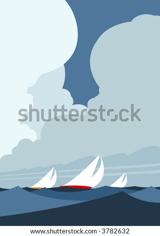 Sailing yachts in strong breeze at sea - stock vector