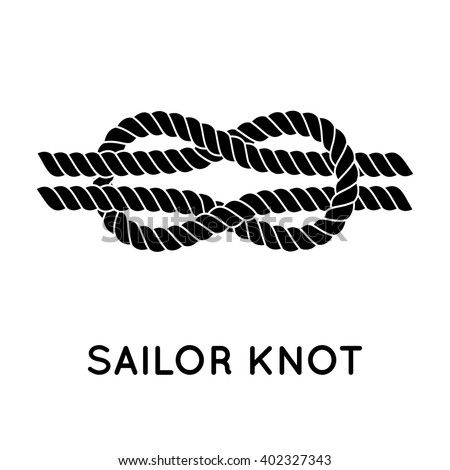 Sailor knot. Nautical rope infinity sign. Single flat icon with shadow. Tying the knot. Graphic design element for wedding invitations, baby shower, birthday card, scrapbooking, logo etc.  - stock vector