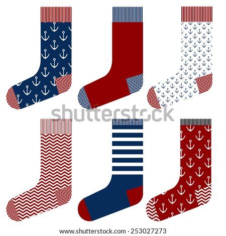 Sailor socks design set, sea marine sailing style - stock vector