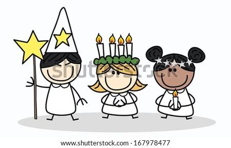 Saint Lucia Swedish Christmas tradition - stock vector