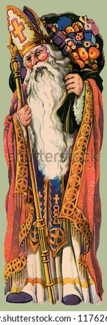 Saint Nicholas in his guise as the patron Saint of Christmas - stock vector
